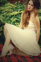 cream off shoulder Jones & jones dress - light pink blush pink LK Bennett shoes