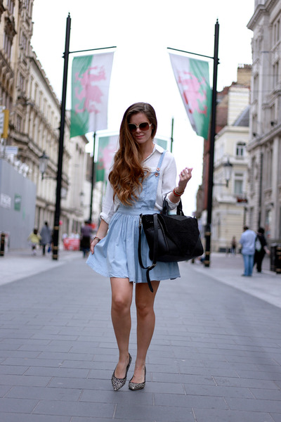 black Bracher Emden bag - periwinkle dungaree dress Primark dress