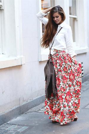 red Boohoo skirt - off white Baukjen shirt - brown next bag