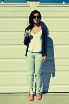 bubble gum Cole Haan shoes - aquamarine Zara jeans - ivory Talula top