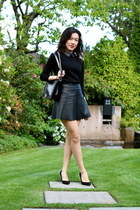 black pleather Club Monaco skirt - black boy bag Chanel bag