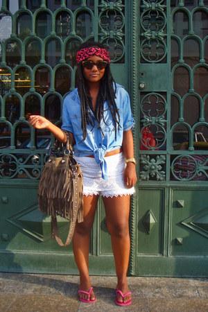 sky blue denim Zara shirt - hot pink Fizspan scarf - gray Farm bag - ivory lace