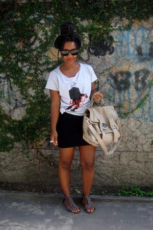 camel Ebay purse - black Ray Ban sunglasses - black bandage Luko skirt - silver