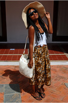 cream fair hat - white Ecletic shirt - cream H&M bag - black Ray Ban sunglasses