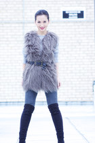 heather gray flaux fur Zara vest - black Aldo shoes