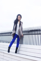blue J Brand leggings - black sued sam edelman boots - black silk wilfred blazer