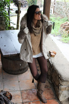 Stradivarius sweater - Pinkie boots - Zara coat - H&M shorts