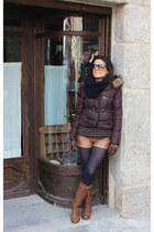 Zara coat - Bershka boots - Stradivarius shorts - Zara t-shirt