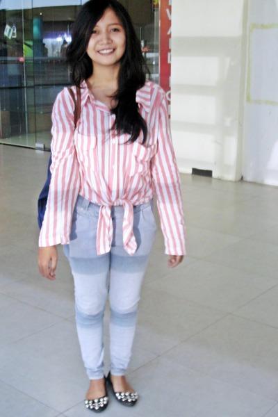 stripes jrepclothings blouse - blue jeans - blue longchamp bag