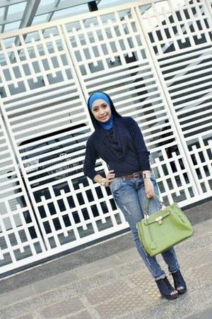 bag - sky blue blue jeans - chartreuse green wedges - navy blue hoodie top