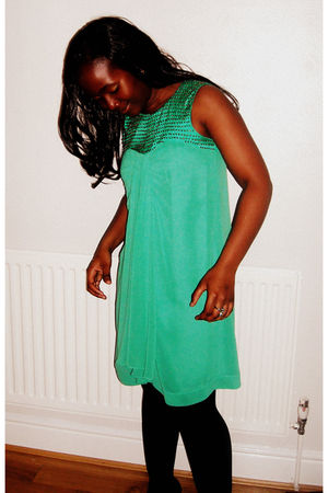 green Monsoon dress - black Primark stockings - black Monsoon shoes