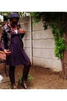 brown Miss Selfridges jacket - purple Zara dress - brown Marks and Spencers stoc