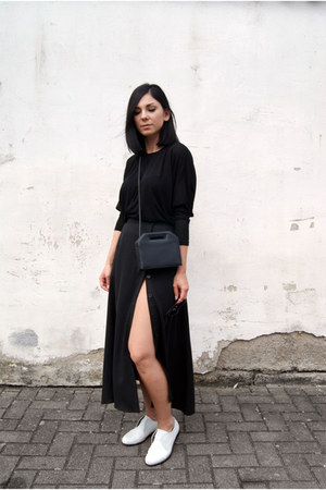black FOI bag - white Hudson shoes - black BNKR skirt - black BNKR top