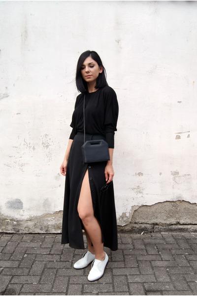 black FOI bag - white Hudson shoes - black BNKR skirt - black BNKR top