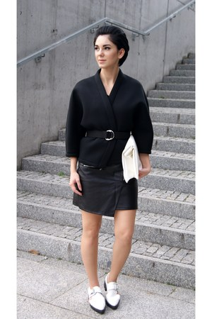 black kimono Front Row Shop jacket - white Zara shoes - white Choies bag