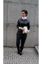 black Bershka shoes - black leather OASAP jacket - silver Choies bag