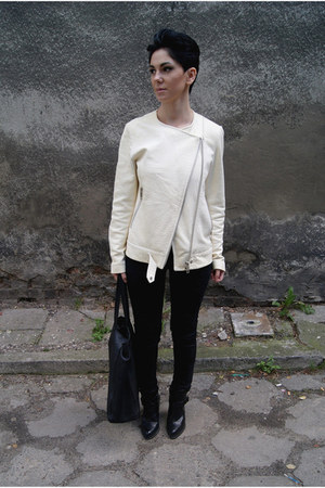 white leather ZARA STUDIO jacket - black Zara shoes - black reserved bag
