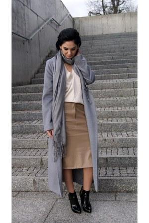 silver Sheinside coat - black patent leather Zara shoes - beige Zara sweater