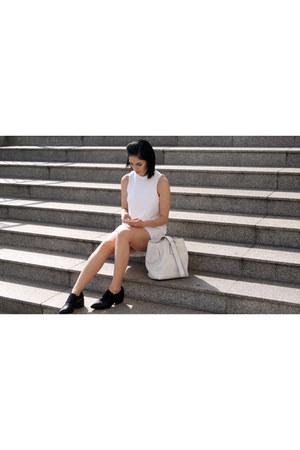 black reserved shoes - ivory Mango dress - white Zara bag