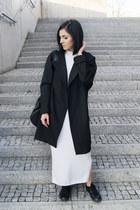 black Mango shoes - white asos dress - black Backstage coat - black KLARF watch