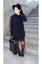 black lace Choies dress - black Bershka shoes - navy Zara hat