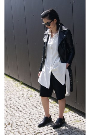 black H&M shoes - black leather style moi jacket - white style moi shirt