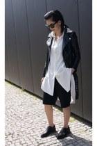black H&M shoes - black leather style moi jacket - white style moi shirt