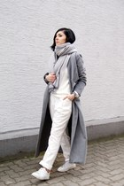 silver Sheinside coat - white The Fifth via BNKR sweater - silver The Sept scarf