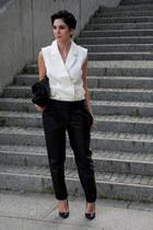 black Zara bag - white Front Row Shop vest - black leather Zara pants