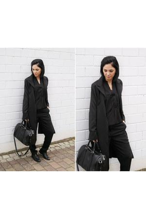 black 7 mil shoes - black Sheinside coat - black Mango bag - black Choies blouse