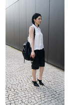 black Mohito shoes - black Mohito bag - white style moi blouse