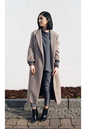 black charles&keith boots - tan Zara coat - heather gray Art Dept sweater