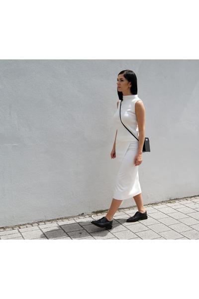 white Mango skirt - black H&M shoes - white ACHRO top