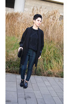 black Bershka shoes - black Zara coat - black Zara sweater - black Zara bag