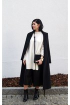 black Sheinside coat - white Zara sweater - black Jessica Buurman bag