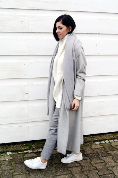 silver Sheinside coat - white Zara shoes - white Sheinside sweater