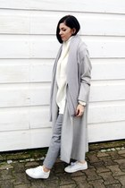 silver Sheinside coat - white Zara shoes - white Sheinside sweater