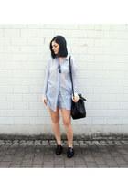 black Agneel bag - sky blue stripes Basic Apparel shirt