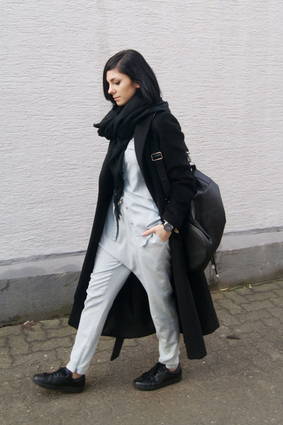 black Mango shoes - black Sheinside coat - black Urban Watch watch