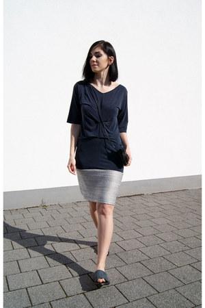 navy Mango shoes - navy Carla Pontes dress - black Erin Templeton bag