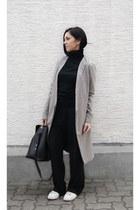 black turtleneck Zara sweater - white Zara shoes - silver Tanroh coat
