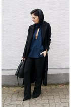 black Zara shoes - black Sheinside coat - black Cluse watch