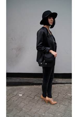 black Zara hat - black leather H&M Trend jacket - black Mango bag
