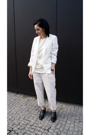 white Sheinside jacket - black H&M shoes - white Mango top