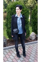 black H&M jacket - sky blue jeans H&M shirt - black Mango bag