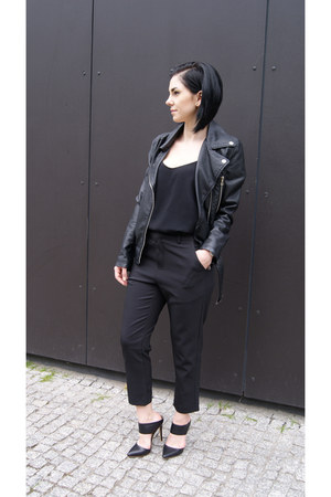 black jessicabuurman shoes - black leather Choies jacket - black Mango top