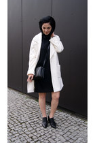 black reserved shoes - black Mango dress - white Mango blazer