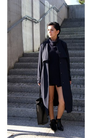 navy turtleneck Zara sweater - black Choies shoes - navy trench H&M Trend coat