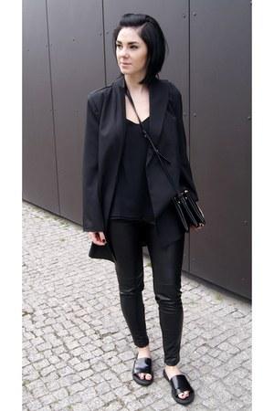 black Zara shoes - black Sheinside jacket - black Jessica Buurman bag