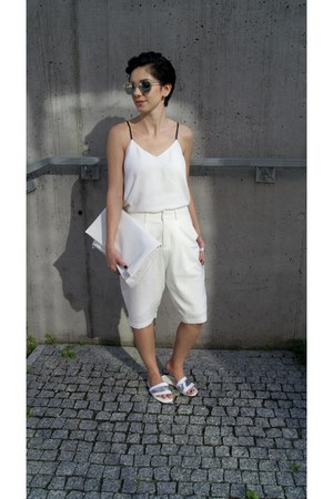 white Choies bag - silver Choies shoes - white bermudas Front Row Shop shorts